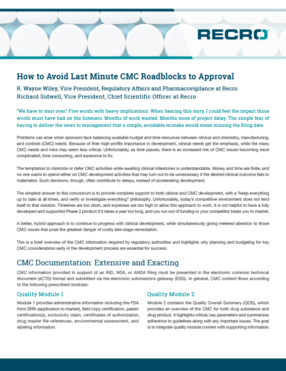 how to avoid lastm inute CMC roadblocks to approval